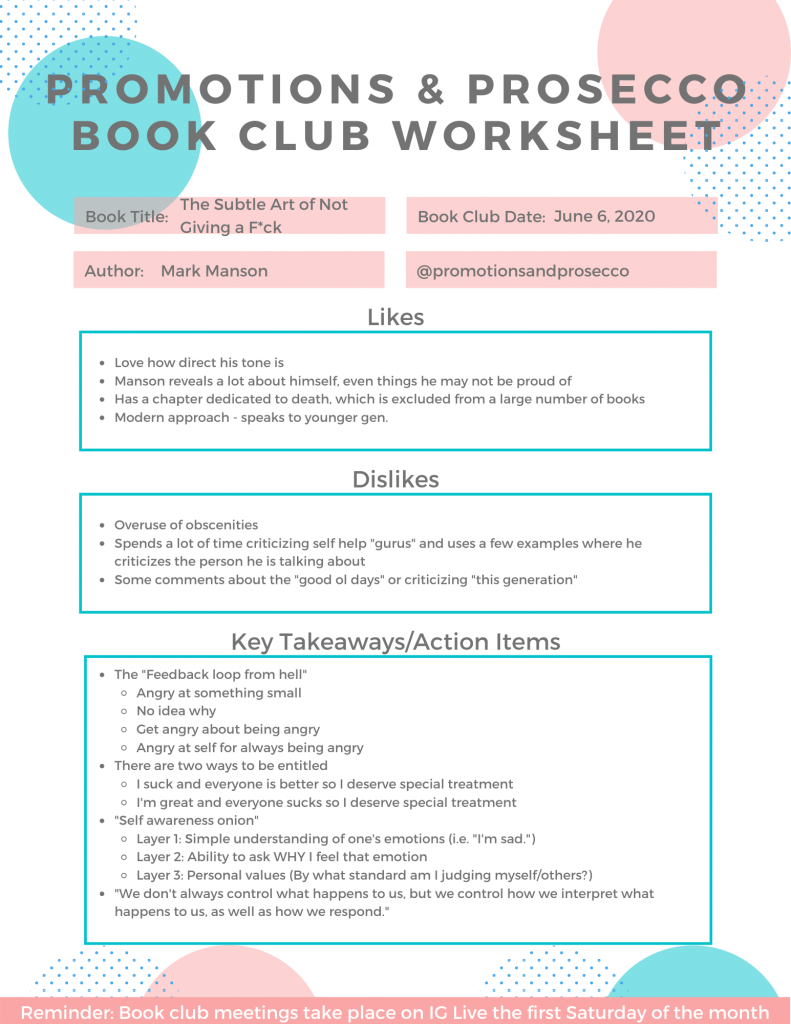 The Subtle Art of Not Giving a F*ck Worksheet